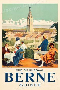 Bern, Switzerland Travel Poster (C. Berne Switzerland, Party Vintage, Vintage Style, Evian Les Bains, Fürstentum Liechtenstein, Illustrator, Stations De Ski, Swiss Travel, Tourism Poster