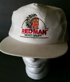 f457c238646 Red Man Hat Tobacco Snuff Cigar Chew mesh Snapback cap Trucker Vintage 1980s