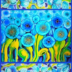Field of Blue Poppies with Top and Bottom Border Belize