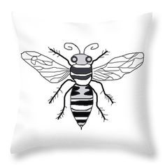 Black And White Honeybee  Throw Pillow by Irene Irene