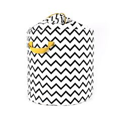 White Storage Tote with Zig Zag Print and drawstring tie