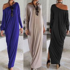 New Summer Women Elegant Casual Loose Fashion Long Sleeve Boho Pure Color Blue Grey Black O Neck Beach Long Full Length Dress