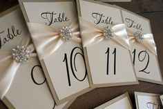 wedding table number | Wedding Table Number Cards! Love the broach detailing / wedding ideas ...