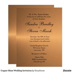 Copper Shine Wedding Invitation