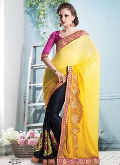 Yellow And Black Patch Border Work Party Wear Saree, Product Code :5866, shop now http://www.sareesaga.com/yellow-and-black-patch-border-work-party-wear-saree-5866  Email :support@sareesaga.com What's App or Call : +91-9825192886