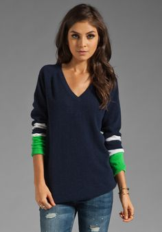 Equipment Asher V Neck Navy Colorblock Sweater in Peacoat. Want this!!!!!!!