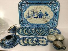 Vintage Metal Tea Set And Serving Tray By by 2BarnPickers on Etsy