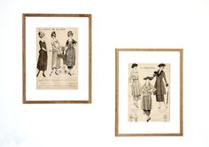 Two French Fashion Plates 1920 by ParisJadis #vintageillustration #frenchvintage #diptych #walldecor