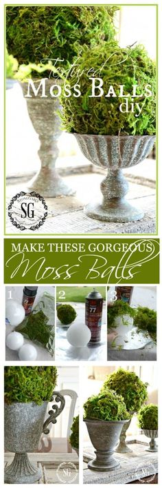 DIY:  How to Make Decorative Moss Balls - easy project that makes a perfect display any time of year - via Stone Gable
