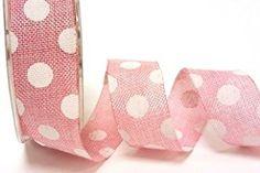 Bertie's Bows Pale Pink Polka Dot Burlap 25mm Ribbon on a 2m length (N.B. this is a cut from a roll)