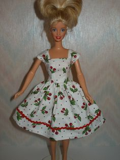 Handmade Barbie clothes - white and red cherry print dress. $7.00, via Etsy.