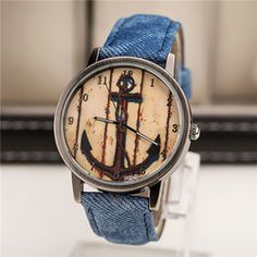 Boat anchor quartz watches men Jean and PU Leather strap wristwatches Women casual watch relogio free shipping