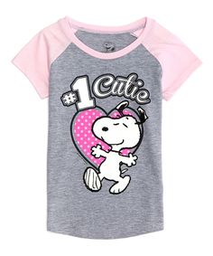 Look what I found on #zulily! Gray & Pink '#1 Cutie' Raglan Tee - Toddler by Peanuts by Charles Schulz #zulilyfinds