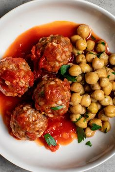 Spicy Meatballs With Chickpeas Recipe - NYT Cooking Chickpea Recipes, Beef Recipes, Cooking Recipes, Healthy Recipes, Ground Lamb, Ground Beef, Ground Turkey, Spicy Meatballs, Cooking Meatballs