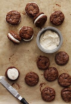 brownie cookies with salted caramel creme filling.