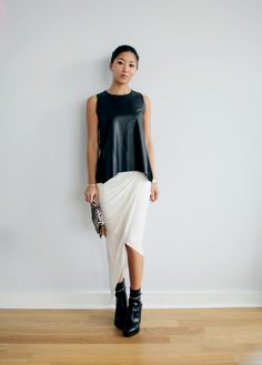 Helmut Lang helix asymetrical skirt, Zara top, Givenchy boots and clutch [source: pink horrorshow]