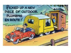 Man Towing a Trailer and an Outhouse, Outdoor Plumbing Art Print