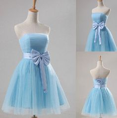 Blue Short Prom Dress With Bow Elegant Light Blue Party by UrDress, $109.00