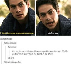 Stiles tricks the Nogitsune.Dylan is such an amazing actor. And in case you hadn't realized it.he slayed the role of the nogitsune Stiles Teen Wolf, Teen Wolf Dylan, Teen Wolf Cast, Teen Wolf Memes, Teen Wolf Quotes, Teen Wolf Funny, Stydia, Sterek, Dylan O'brien