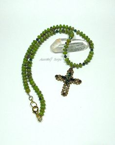 Jade Necklace with Swarovski Crystal by AussenWolfDesigns on Etsy, $135.00
