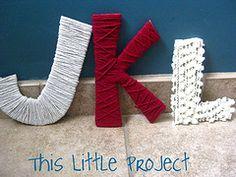 cardboard letter wrapped in yarn