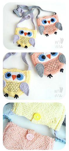 Crochet owl purses