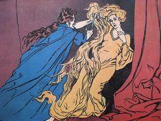 Illustration for a 1904 German edition of Grimm's fairytale 'Rapunzel', illustrated by Ernst Liebermann.