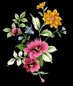 Gelbe und rosa Blumen