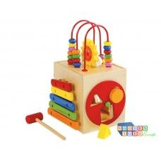 Quality German Made activity cube to encourage fine motor skills. 5 different activities to encourage learning through play. Clock face, 2 shape sorters, xylophone and wooden beads on bow shaped tracks will encourage little fingers to explore. Wooden Toy Boxes, Wooden Baby Toys, Wooden Pegs, Wooden Puzzles, Wood Toys, Wooden Diy, Cubes, Table Activities For Toddlers, Activity Cube