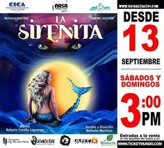 """""""La sirenita"""" Una historia que se desarrolla debajo del mar. Infantil-Juvenil. Sáb y dom 3pm"""