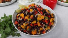 A Mexican black bean salad with mango, avocado, red onion, jalapeno and cilantro. Mango Salad, Avocado Salad, Brunch Appetizers, Vegetarian Recipes, Healthy Recipes, Soup And Sandwich, Bean Salad, Dessert For Dinner, Kitchens