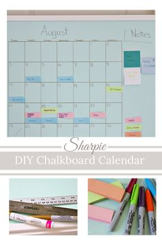 Get Organized With Aqua & Gold Chalkboard Calendar