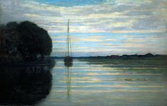 River view with a boat Sun | Piet Mondrian | oil painting #landsapes