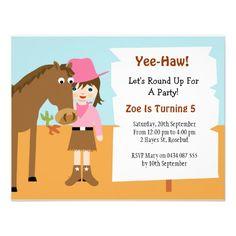 Cowgirl Birthday Party Invitation