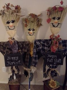 Its about time for Scarecrow Joe Broom and his two brothers to come for a visit. Its about time for Scarecrow Joe Broom and his two brothers to come for a visit. Thanksgiving Crafts, Thanksgiving Decorations, Fall Crafts, Holiday Crafts, Halloween Decorations, Diy And Crafts, Crafts For Kids, Holidays Halloween, Fall Halloween