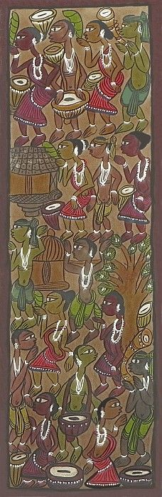 Musical Fervor in Tribal India - Folk Art Paintings (Kalighat Painting - Water Color on Paper - Unframed)