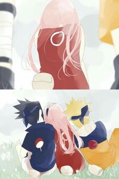 Team 7, Naruto, Sakura, Sasuke, cute, comic, leaning, shoulders; Naruto