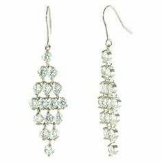 Diamond Shaped White CZ Pave Mesh Dangle Earrings le Jane. $49.00