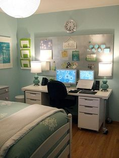 guest room with office love the colour scheme. I really like the lime green and the white Inc.