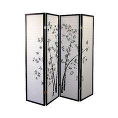 This Japanese Inspired Room Divider Features 4 Rice Paper Panels In A Bamboo Design. Case panel room divider x Set include - Room Divider only. 4 Panel Room Dividers are a simple, elegant way to add style, texture or define a space. Vintage Room, Room Screen, Paneling, Shoji Room Divider, Black Panels, Bamboo Design, Divider Design, Bamboo Room Divider