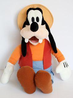 "Disney GOOFY Plush Doll Yellow Hat 21"" Inches"