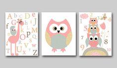 Kid Wall Art Kid Art Owl Nursery Owl Decor Alphabet Nursery Alphabet Baby Girl Nursery Baby Room Decor Gray Nursery Print set of 3 8x10 Pink