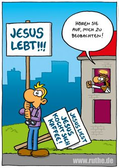 jesus gott schild beobachten stalken mann typ haus kaffee liest lebt religion religiös wahn christentum judentum