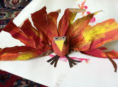 Thanksgiving Turkey Craft! All you need for this fun holiday craft is a brown paper lunch bag, a toilet paper roll, some paint, and something for eyes, beak and feet. So first open the paper bag do...