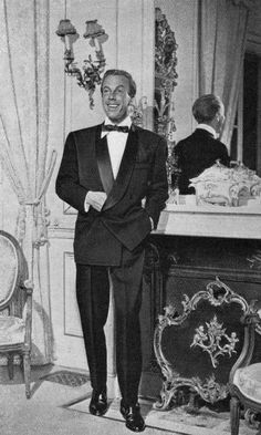jacques Faith fashion 1950's | Jacques Fath | Jacques Fath | Dinner jacket tuxedo styling for hosting the opening night