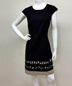 Black & Beige Die-Cut Cap-Sleeve Dress