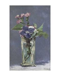 Carnations and Clematis in a Crystal Vase Kunst av Edouard Manet hos AllPosters.no