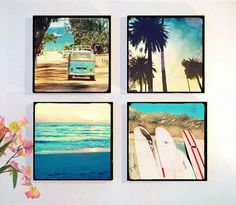 Surf Photography, Photo Set, Retro Art, Palm Trees, Surfboards, VW Bus, Sunset, Beach Home Decor, Mounted, Gift idea