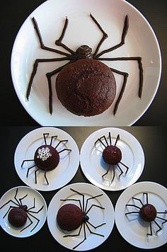 Spider cupcakes. Could be cute for a little boys birthday party if spiders fit the theme!