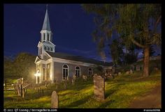 Holly Family church and graveyard at night, Concord. Massachusetts, USA (